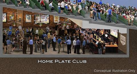 Shown here are ideas for the home plate club.