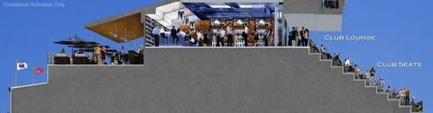 Shown here are ideas for new club seats and concessions.