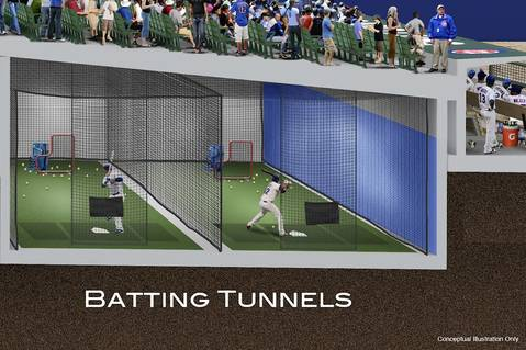 Shown here are ideas for the batting tunnels.