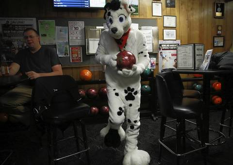Jamie Joyce, dressed as a Dalmatian named Spark, picks out his ball.