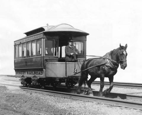 """Chicago's first one-horse drawn streetcar ran along State Street from Randolph Street to 12th Street in 1859. The car was called a """"Bobtail"""", having no rear platform."""