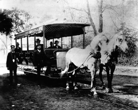 A horse-drawn streetcar operated by the North Chicago City Railway Co., ca. 1870-1875.
