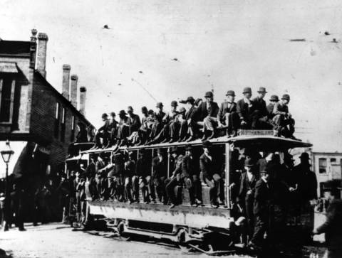 One of the first electric trolleys installed on 61st Street and used during the World's Columbian Exposition in Chicago in 1893.