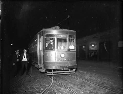 The last streetcar in the barn during a streetcar strike, ca. Aug. 3, 1922.