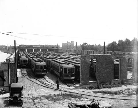 Streetcars parked in the Howard Avenue open air barns, ca. Aug. 3, 1922, during a streetcar strike.