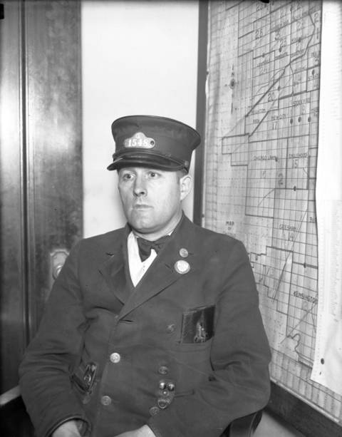 Streetcar conductor Douglas Quinn, ca. July 11, 1930.