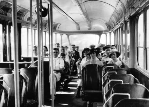 The interior of a newly designed Chicago streetcar in 1934 shows more seats for passengers.