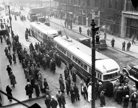 New Chicago streetcars, ca. Nov. 14, 1936.