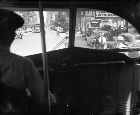 Inside a new streetcar looking out on Chicago's Madison Street on Aug. 4, 1948.