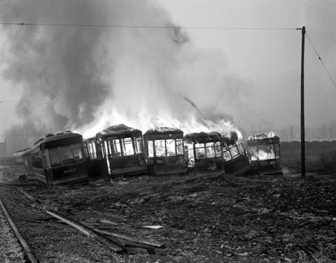 The CTA burned old streetcars on their property at 78th Street and Vincennes Avenue on Jan. 14, 1949. Some of the streetcars were 40 years old.
