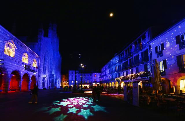 A general view of Christmas lights seen at Piazza Duomo on December 9, 2013 in Como, Italy.