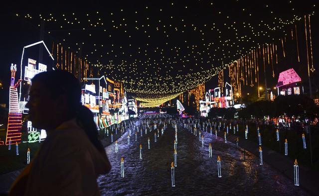 A general view of the Christmas lights illumination along the Medellin river on December 9, 2013 in Medellin, Antioquia department, Colombia.