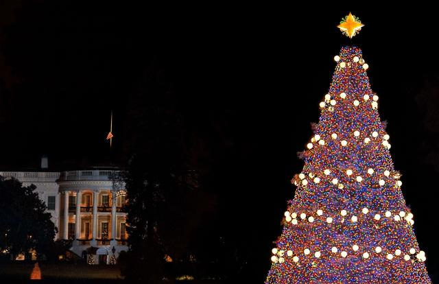 The National Christmas Tree on the Ellipse is seen with the White House in the background in Washington on December 6, 2013 after being lit by US President Barack Obama.