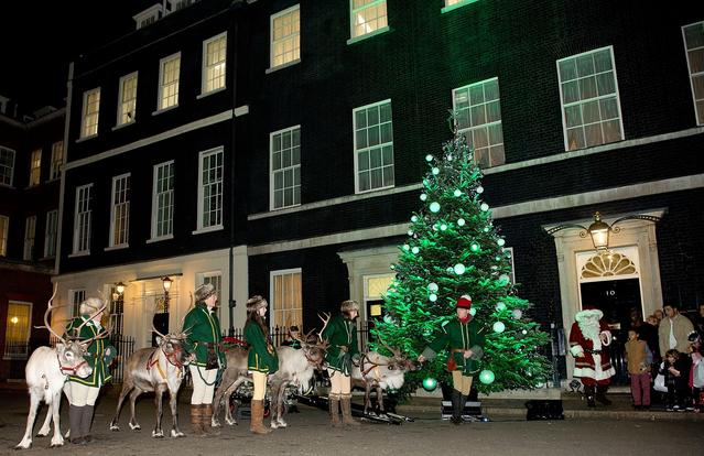People attend the lighting of Downing Street's Christmas tree at 10 Downing Street on December 9, 2013 in London, England. Oxfordshire tree grower Andrew Ingram was selected to supply a pine tree to grace the steps of the prime ministers official residence.