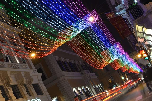 Picture of Christmas lights taken in the Via del Corso, one of the main shopping street of Rome, on December 6, 2013.