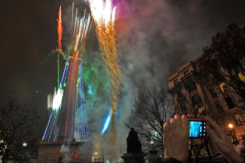 The 42nd annual lighting of Baltimore's Washington Monument.