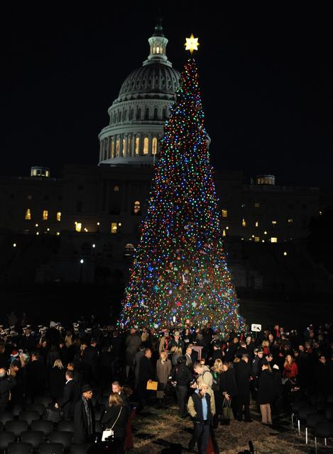 Speaker of the House John Boehner, R-Ohio, lights the Capitol Christmas tree amid a ceremony on the west front of the Capitol on Tuesday, Dec. 3, 2013, in Washington, D.C. The second tallest tree ever used at the Capitol, the 88-foot Engelmann spruce is from the Colville National Forest in Washington state.