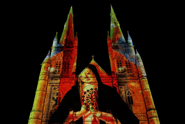 The 'Lights of Christmas' are featured at St Mary's Cathedral on December 13, 2012 in Sydney, Australia. Produced by Creative Director Anthony Bastic, the stunning illuminations are projected over the 75 metre high and 33 metre wide facade of the sandstone Cathedral.