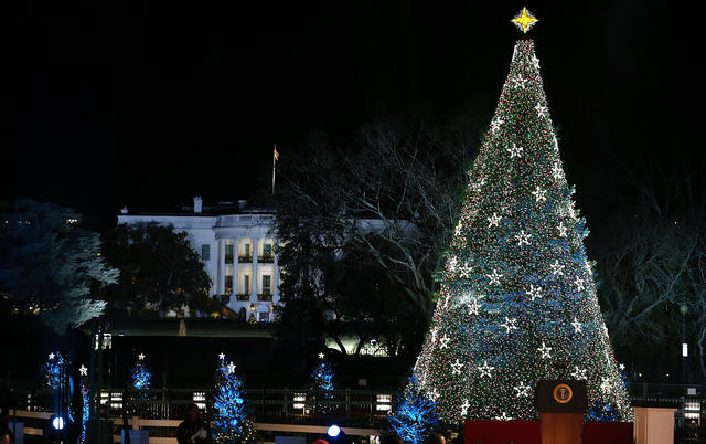 President Barack Obama hit the button to light the National Christmas tree on December 6, 2012 in Washington, D.C. This year is the 90th annual National Christmas Tree Lighting Ceremony.
