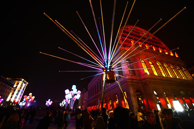 A picture taken on December 6, 2012 shows the Opera enlightened in Lyon, central eastern France, during the 14th edition of the Festival of Lights, a secular version of a religious tradition devoted to Virgin Mary and dating back 152 years ago.