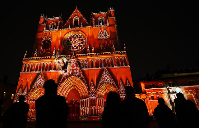A picture taken on December 6, 2012 shows the Saint-Jean cathedral enlightened in Lyon, central eastern France, during the 14th edition of the Festival of Lights, a secular version of a religious tradition devoted to Virgin Mary and dating back 152 years ago.