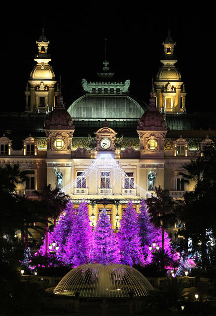 Christmas lights illuminate Monte-Carlo's casino late on December 8, 2012 in Monaco.
