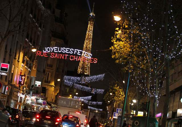 Christmas lights shine on the rue Saint Charles near the Eiffel Tower in Paris, December 4, 2012.