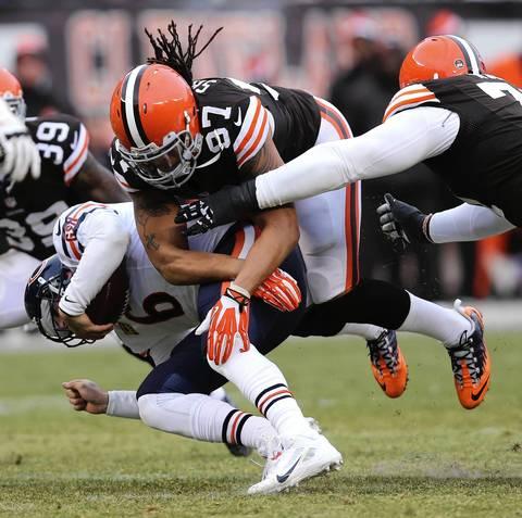 Browns linebacker Jabaal Sheard sacks quarterback Jay Cutler in the third quarter.
