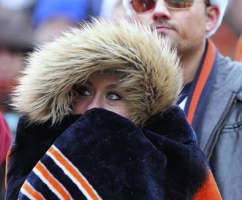 A Bears fan bundles up at FirstEnergy Stadium.