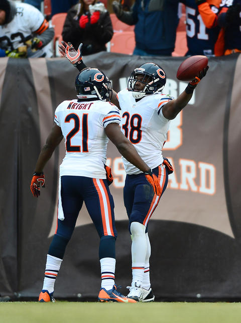 Bears cornerback Zack Bowman (38) returned an interception 43 yards for a touchdown in the third quarter against the Browns.