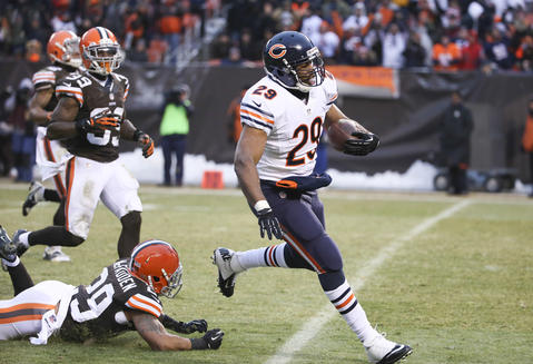 Michael Bush tallied a 40-yard touchdown run late in the game to put the Bears up two scores.