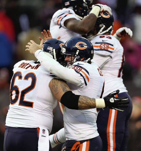 CHRIS SWEDA: This was my best reaction picture to illustrate a victory for the Bears over the Browns on Sunday. I think the layering of players makes the image interesting.
