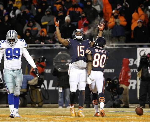 BRIAN CASSELLA: The play wasn't pivotal, but the body language showed the Bears triumph over the Cowboys. Marshall's breath also helped show the frigid night.