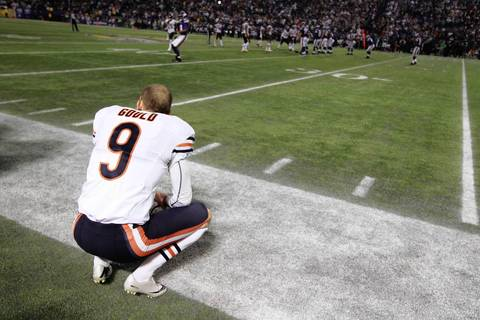 NUCCIO DiNUZZO: Chicago Bears kicker Robbie Gould had an opportunity to kick the winning field goal after his counterpart, Minnesota Vikings kicker Blair Walsh missed his. Gould missed. I was pulling for him after I heard someone on the field say that Gould had become a new dad overnight and had flown in Minneapolis just hours before the game.
