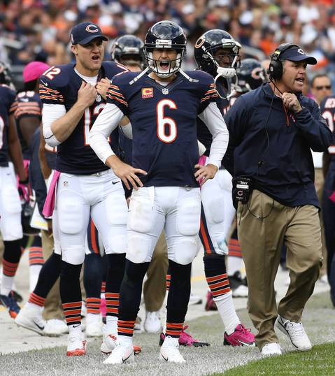 John J. Kim: This photograph is slightly different because I rarely see Jay Cutler yell or react in anger or frustration. He is very stoic when it comes to facial expressions, but he was very displeased with a non-call for pass interference in the end zone, resulting in his yelling at the referee.