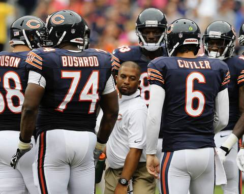 CHRIS SWEDA: The difference in height between a Bears staff member and the players in the huddle instantly drew my attention. It's a really nice way to illustrate just how imposing these players are -- they look relatively normal in size until you see them beside someone who's not paid to play. I was positioned on the sideline as close to the huddle as I could be. During a timeout, using a 400 mm lens, I was able to knock out a couple quick frames of a staff member walking through the huddle after delivering water to one of the players. Every photographer wants to capture the game winning moment, but there's a lot to see in between plays.