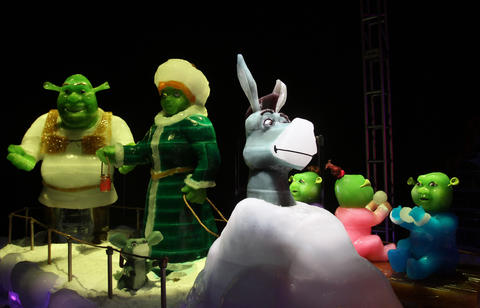 ICE! 2011 at Gaylord Palms in Kissimmee seen on Thursday, November 17, 2011. The 2011 version of the frozen attraction is filled with characters from ' Shrek .'