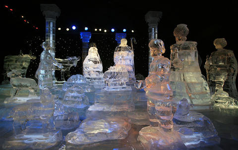 The nativity scene at Gaylord Palms' ICE attraction.
