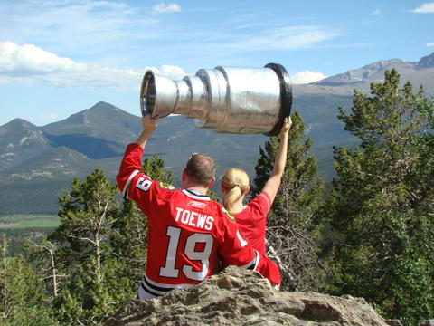 "Overlooking the mountains in Rocky Mountain National Park while on vacation with ""our"" Stanley Cup!"