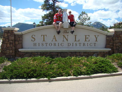 "Taken outside the Stanley Hotel in Estes Park, CO, with Stephen and Maren Schwartz with ""their"" Stanley Cup!"