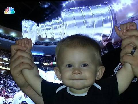 My son Colton is loding up the Stanley Cup right after the hawks won!!
