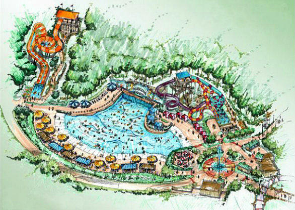 The amusement park in the suburbs west of Atlanta plans to add a Hurricane Harbor water park with a Caribbean theme on land currently occupied by the Southern Star Amphitheater.