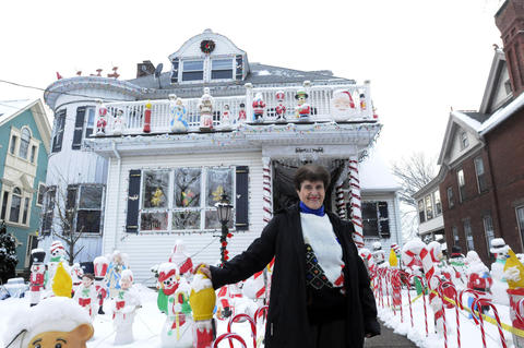 "Rita Giancola, 89, decks out her Lexington Street home as ""Christmas House"" every year."
