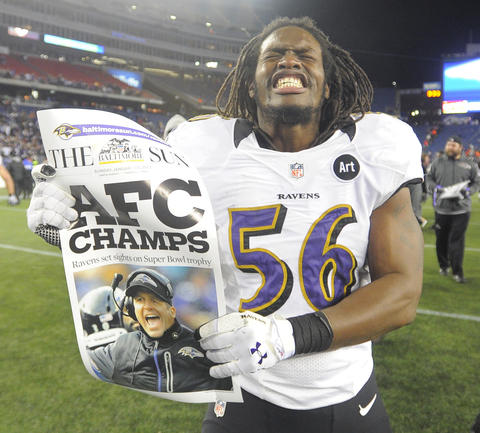 Linebacker Josh Bynes celebrates the Ravens' win over the Patriots in the AFC championship game.