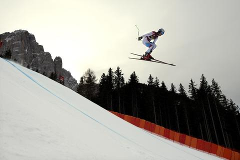 Switzerland's Carlo Janka competes during the FIS Alpine World Cup Men's Downhill training, on December 18, 2013 in Val Gardena.