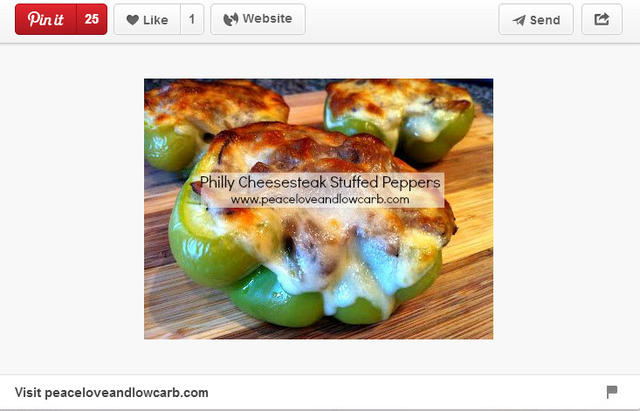 Philly cheesesteak stuffed peppers pinned by Peaceloveandlowcarb.com.