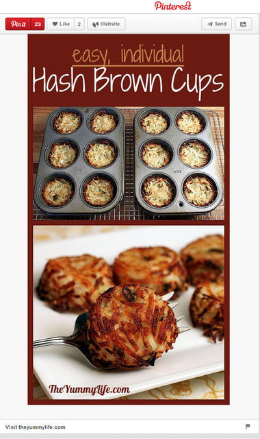 Hash brown cups pinned by TheYummyLife.com.