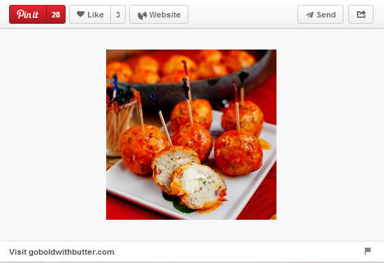 Buffalo chicken meatballs pinned by Goboldwithbutter.com.