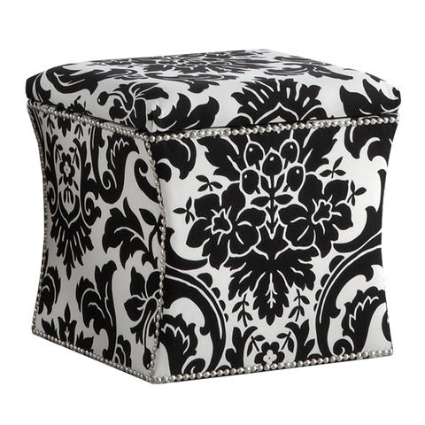 "For many years black-and-white fabrics were very hard to find and black solids were almost impossible. ""I'm finally seeing some of my favorite fabric houses put out some luxurious and fine black-and-white textiles,"" says Stephanie Gamble,owner of The House Downtown. Shown: Skyline Fiorenza Ottoman available from Wayfair.com"