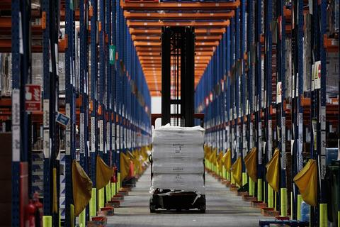 Goods are moved in the Sainsbury's Waltham Point Distribution Centre on December 20, 2013 in Waltham Abbey, England.